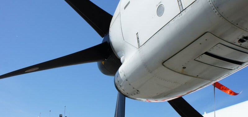 Turbopropulseur et magnifique hélice d'un ATR de HOP
